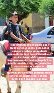 Em Nova Palmeira, menino cai em cisterna e sofre traumatismo craniano; família pede a ajuda dos amigos