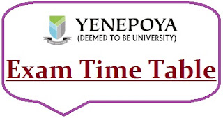 Yenepoya University Exam Date Sheet 2021