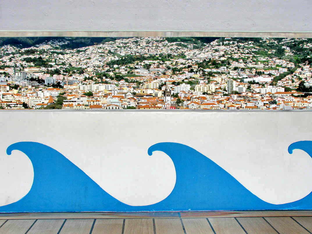 peek into Funchal from a cruise ship