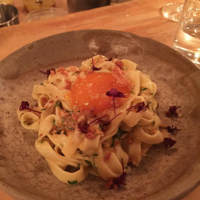 Fettucini with Sea Urchin Butter Sauce - shiso green plum, cured yolk