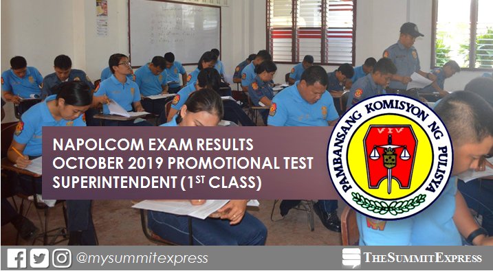 LIST OF PASSERS: October 2019 NAPOLCOM promotional exam result for Superintendent (1st Class)