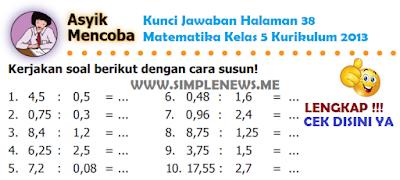 Kunci Jawaban Halaman 38 Matematika Kelas 5 Kurikulum 2013 www.simplenews.me