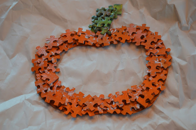 Orange Puzzle Piece Pumpkin Craft For Fall