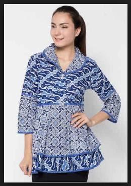 Desain model baju batik atasan wanita lengan panjang