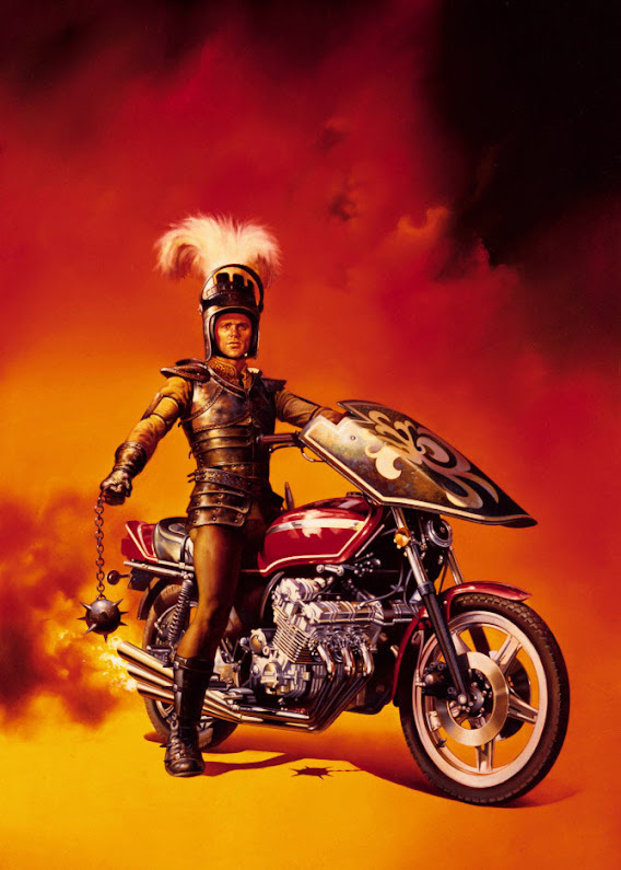 Poster artwork by Boris Vallejo for the 1981 movie Knightriders, featuring actor Ed Harris aboard a 6 cylinder Honda CBX1000