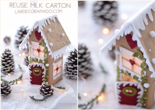 Casa natalina com feita com caixa de leite - decoração de natal gastando pouco