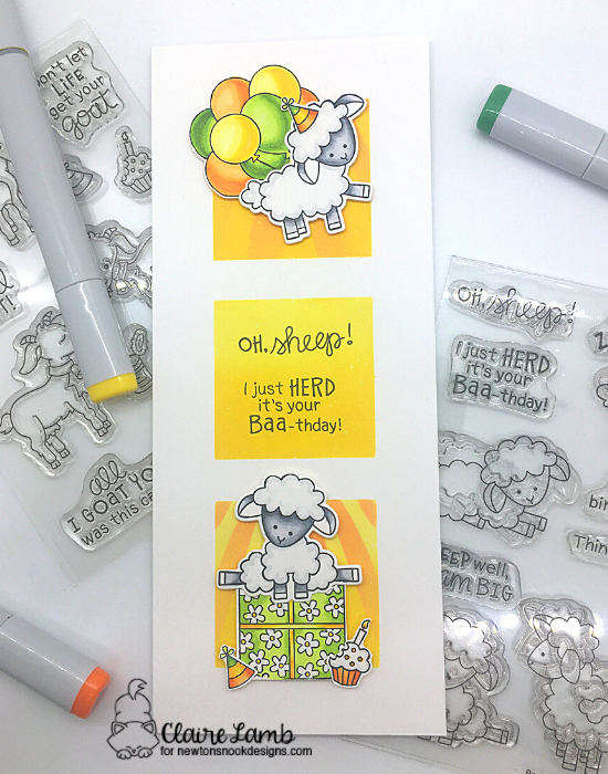 Oh sheep by Claire features Baa, Bleat, Slimline Masking Circles & Squares, Holding Happiness, and Sunscape by Newton's Nook Designs; #inkypaws, #newtonsnook, #birthdaycard, #cardmaking