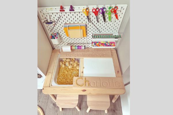 Ikea flisat table skadis pegboard desk with wooden name board