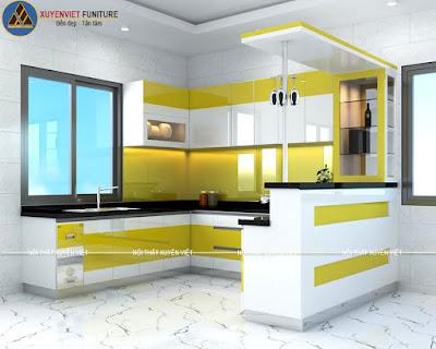 Mẫu tủ bếp đẹp có quầy bar nhà anh Nhất - Đồng Nai