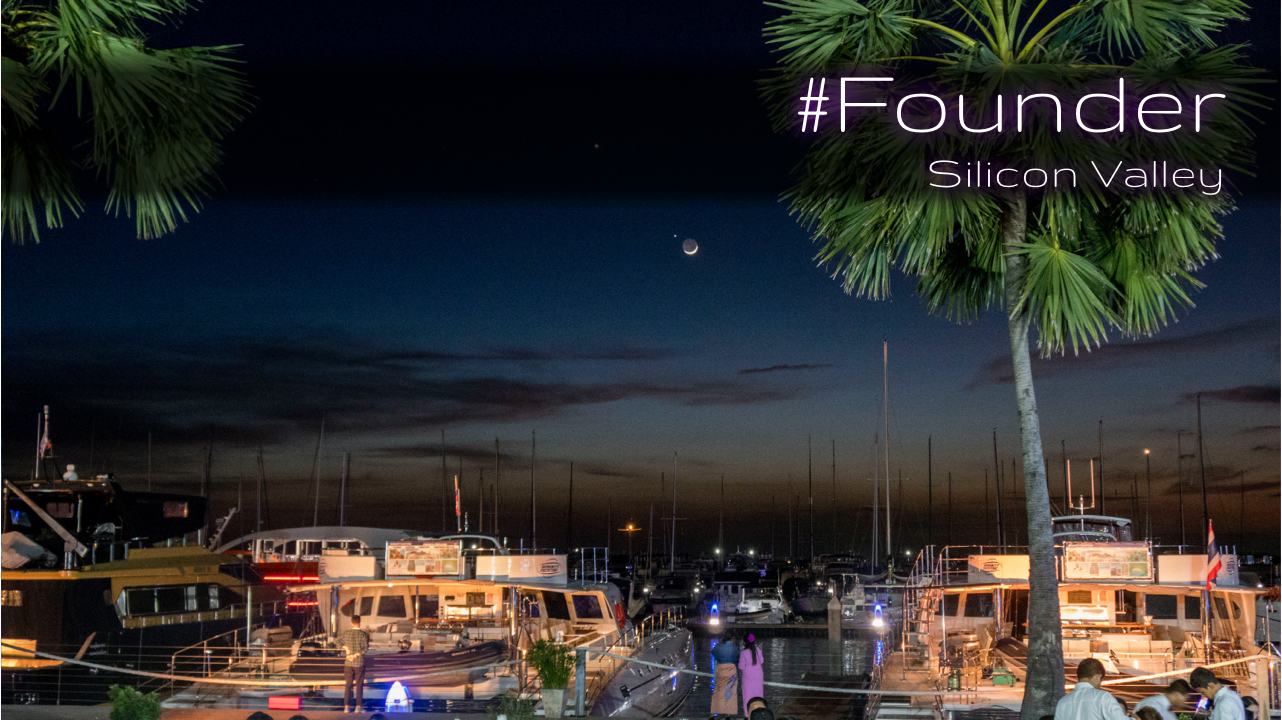 To be founder. Silicon Valley experience. Boat Lagoon in night