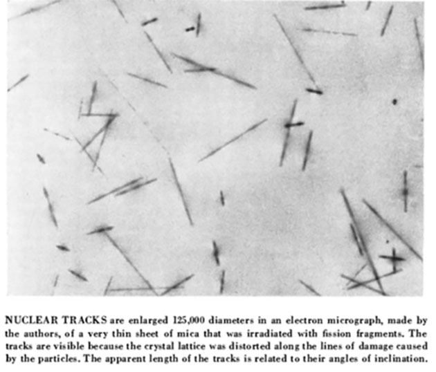 Nuclear tracks in thin sheet of mica (Source: Scientific American)