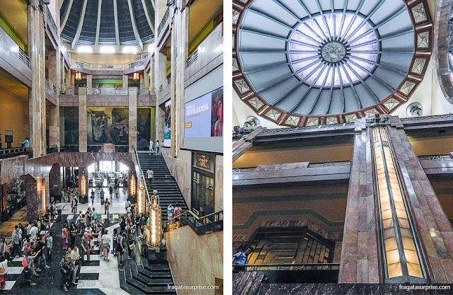 Detalhes art-déco do Palácio Nacional de Bellas Artes da Cidade do México