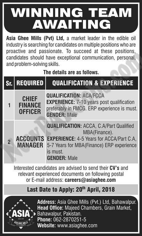 Accounts Manager,Chief Finance jobs