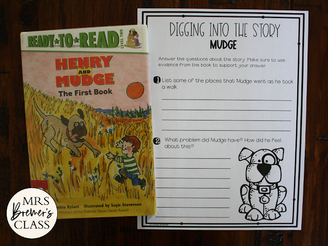 Henry & Mudge book study unit with Common Core aligned literacy activities for First Grade and Second Grade