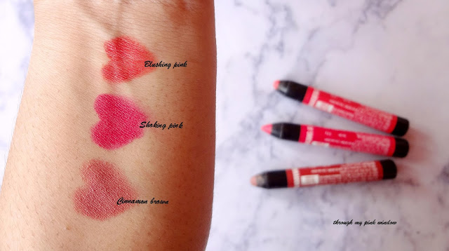 Lakme Enrich Lip Crayon in Cinnamon Brown, Blushing Pink and Shocking Pink Review, Swatch and LOTD