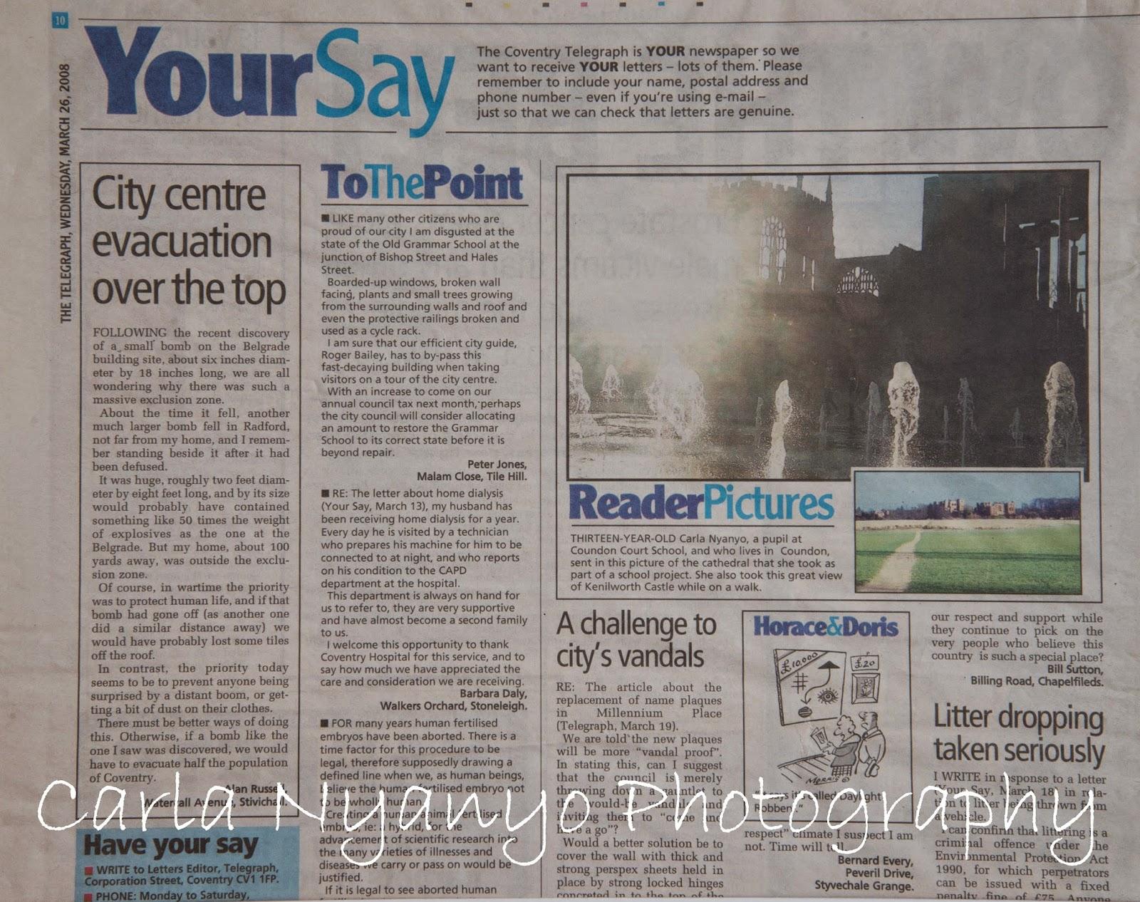 photo's in newspaper