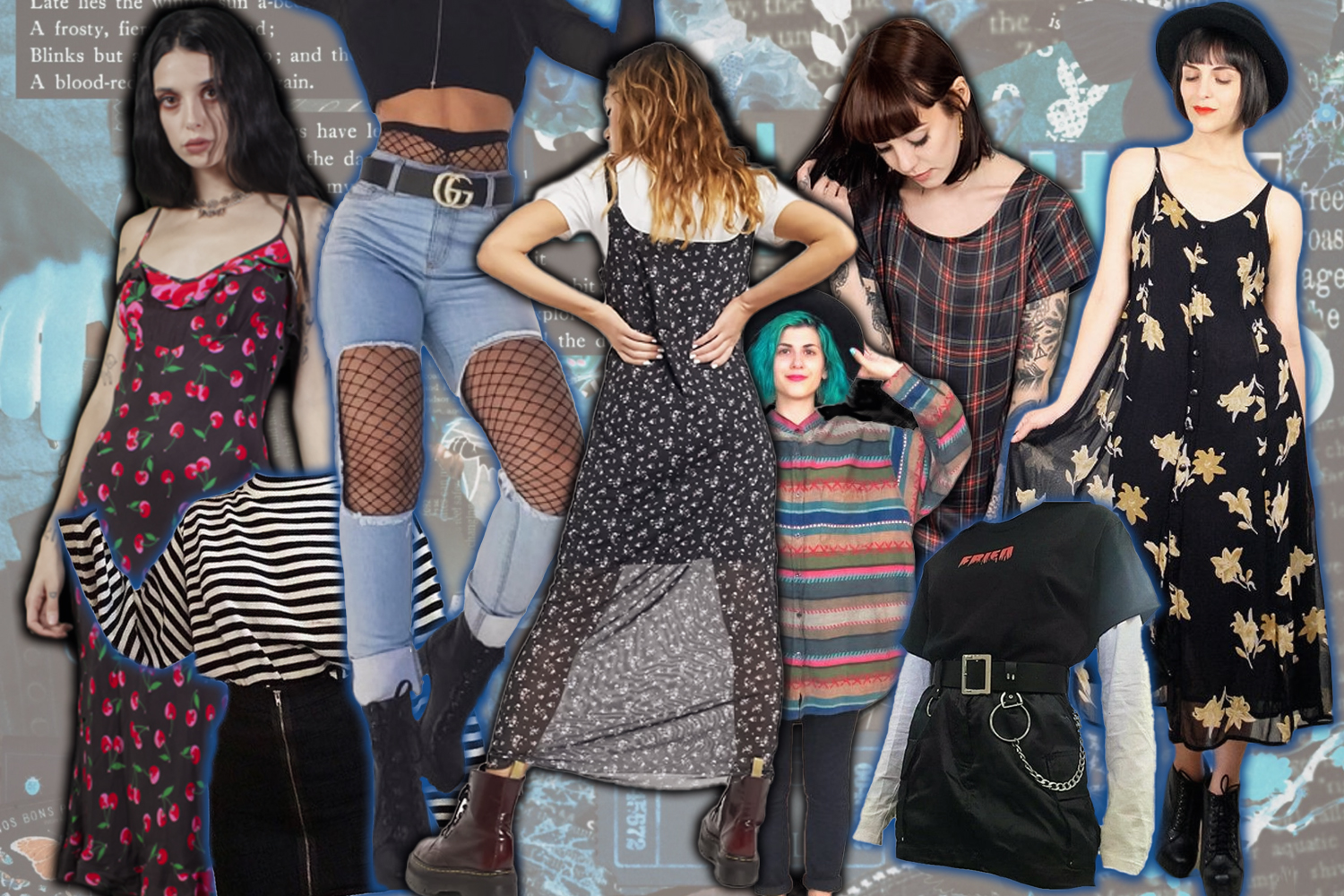 collage with different grunge outfits
