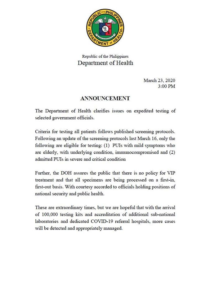 DOH clarifies issues on expedited testing of selected government officials.