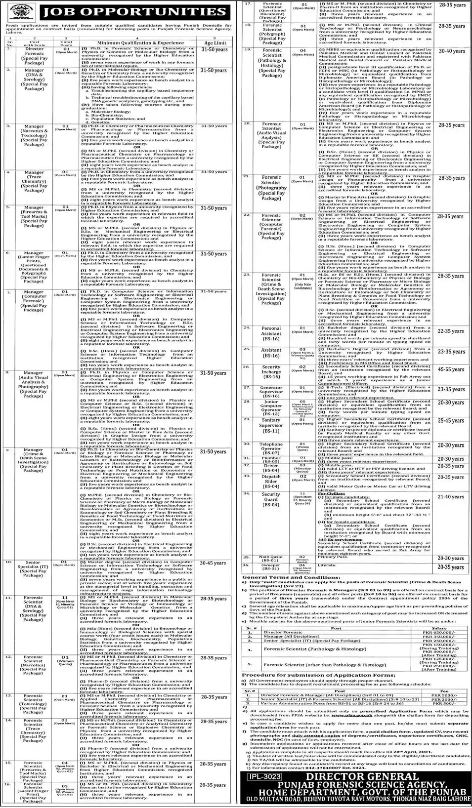 New Jobs in Pakistan Punjab Forensic Science Agency Jobs 2021   Download Application Form