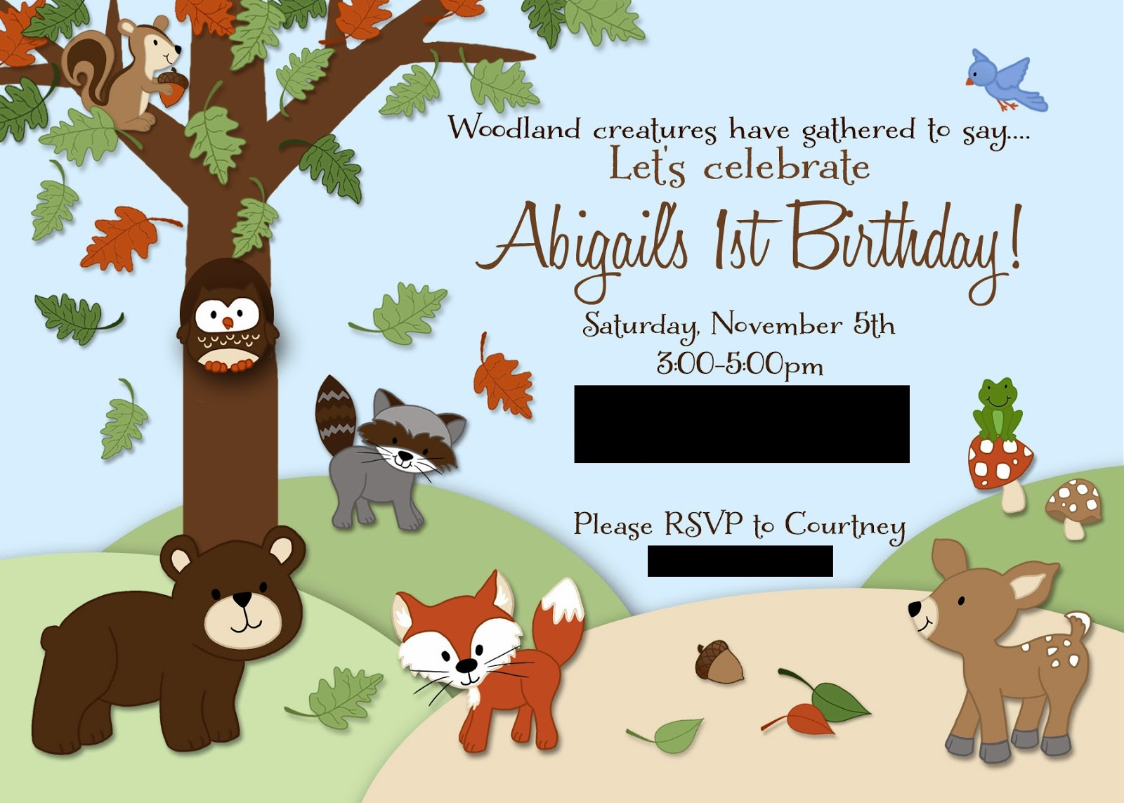 Abigails Woodland Creatures First Birthday Party
