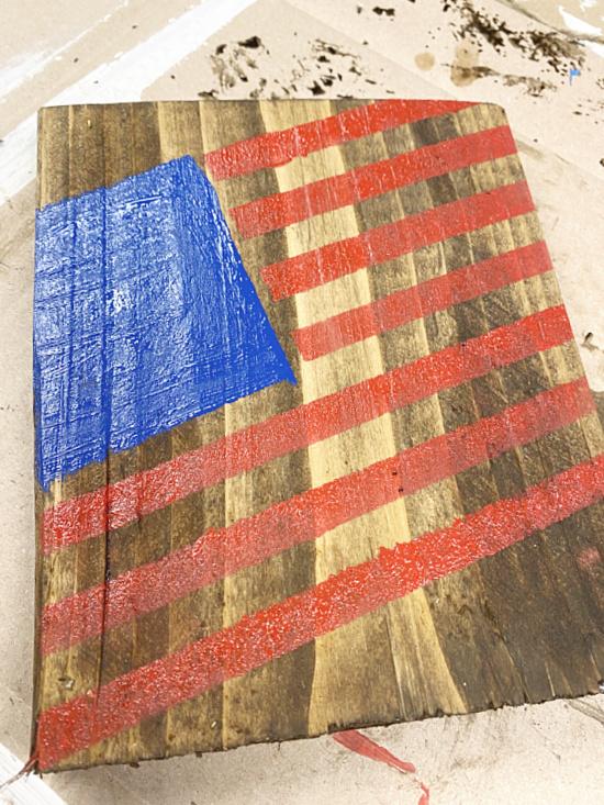 stenciled American flag