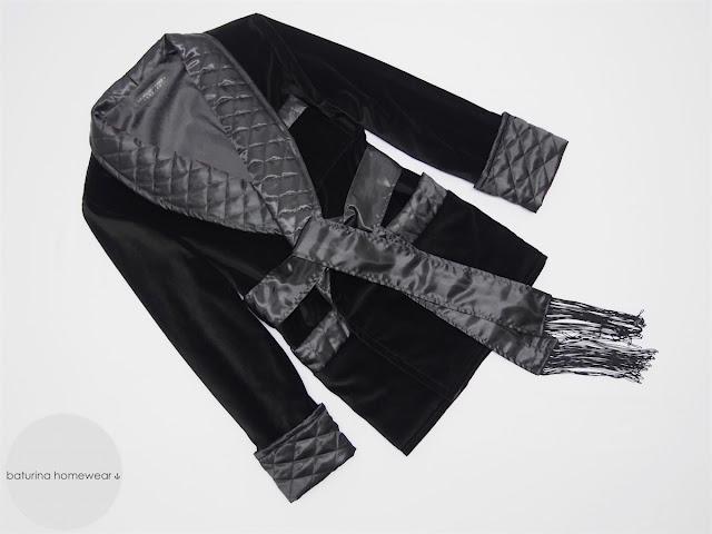 gentlemans black velvet smoking jacket warm quilted silk collar smoking robe mens english robes