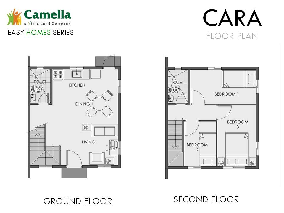 Floor Plan of Cara - Camella Bucandala | House and Lot for Sale Imus Cavite