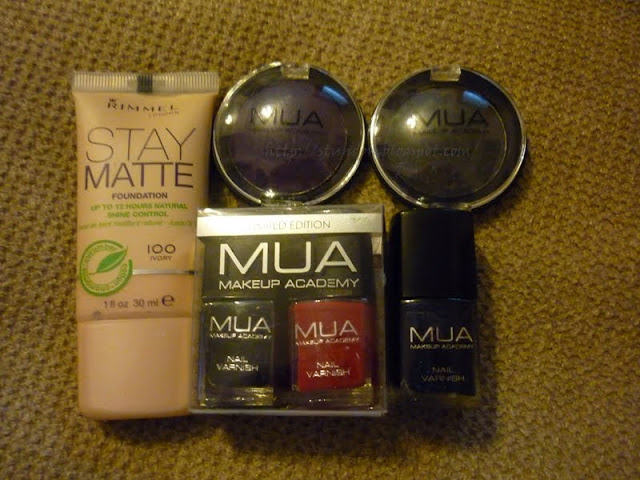 Superdrug purchases Rimmel stay matte foundation and MUA nail polish and eyeshadows