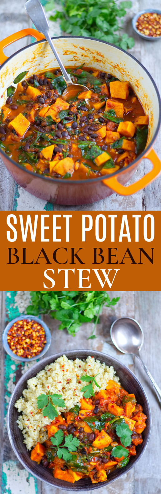 Sweet Potato & Black Bean Stew #vegetarian #comfortfood