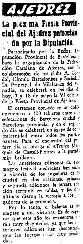 Fiesta Provincial del Ajedrez, El Mundo Deportivo, 7 de mayo de 1959