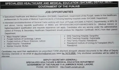 Job opportunities in Specialized Healthcare and Medical Education Department, Punjab