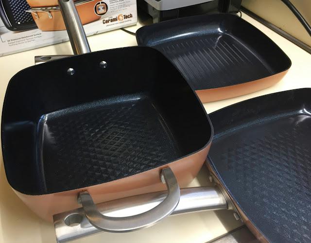 View of textured interior bottoms of Copper Chef Black Diamond nonstick pans in 5-piece set