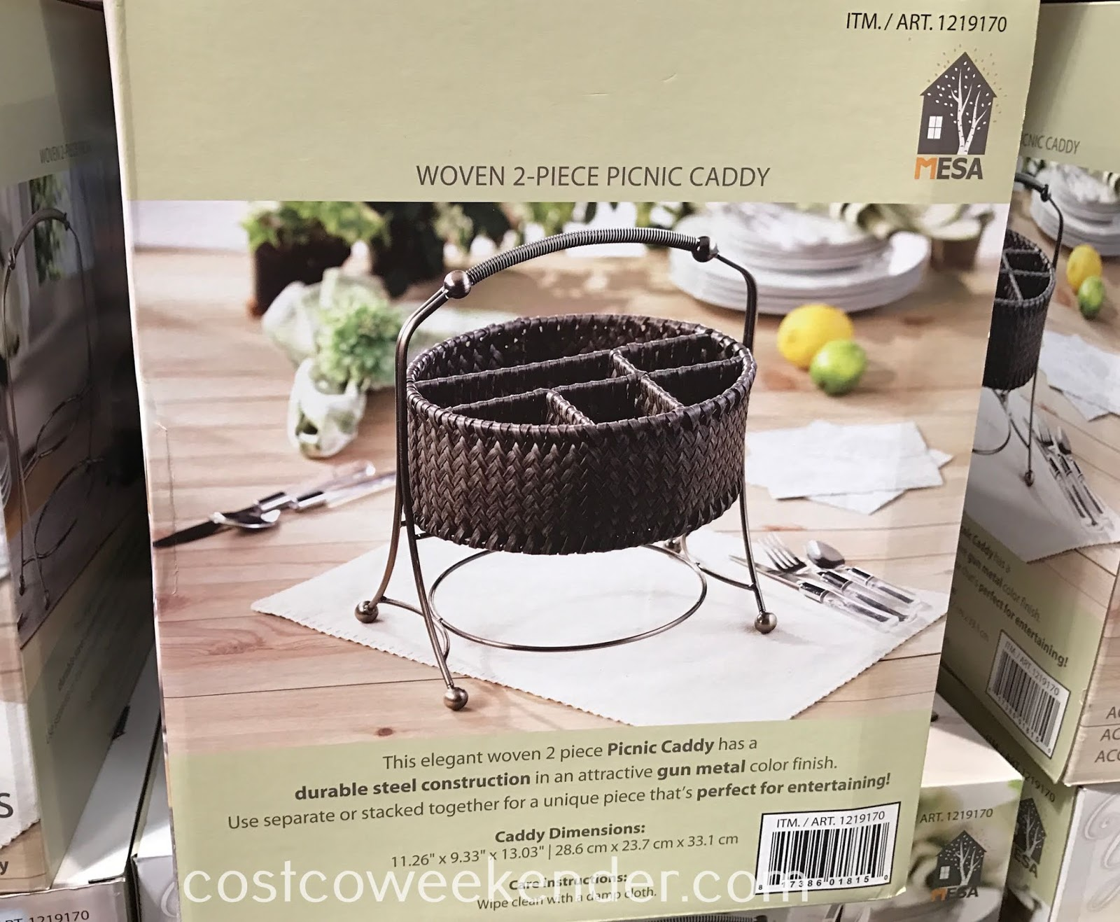 Costco 1219170 - Mesa Woven Picnic Caddy: great for picnics, bbqs, and tailgating