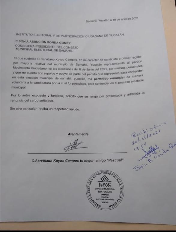 Renuncia candidato de MC a la alcaldía de Samahil; se va a la coalición PRD, PAN y Panal