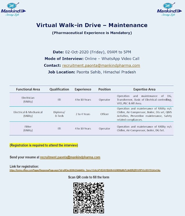 Mankind Pharma | Virtual interview for Maintenance on 2 Oct 2020 for Paonta Sahib