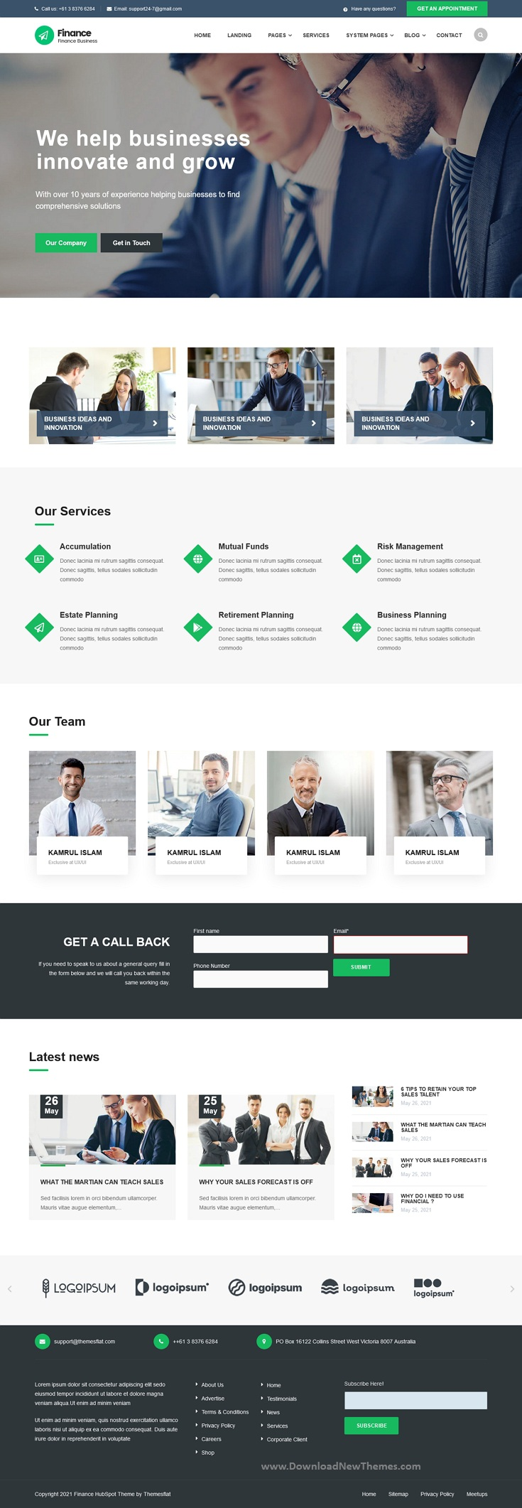 Finance Consulting, Accounting HubSpot Theme