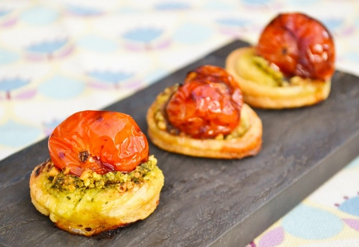 Tomato pastry bites on a slate board
