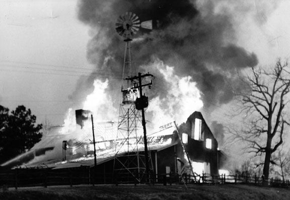 Fire destroyed the Angus Barn in 1964