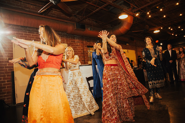 indian sangeet dance bride and bridesmaids
