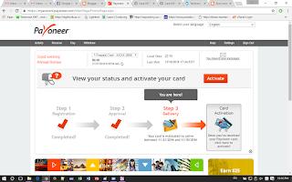 cara aktivasi Kartu Payoneer Master Card