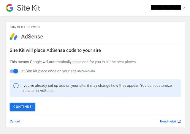 Adsense by site kit