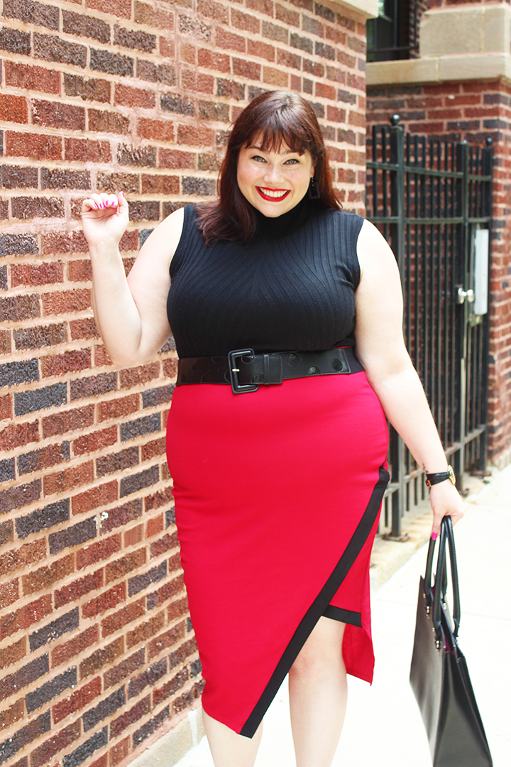 Plus Size Blogger Amber from Style Plus Curves in a Red Envelope Hem Pencil Skirt from Love Lianca