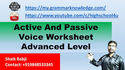 Active And Passive Voice Worksheet Advanced Level