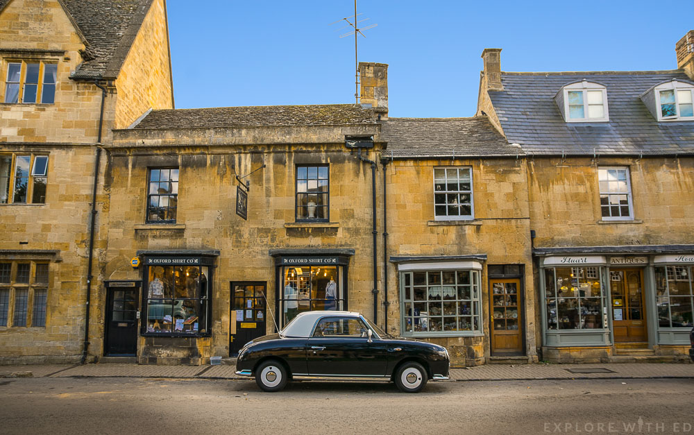 A British Vintage Car on Chipping Campden High Street