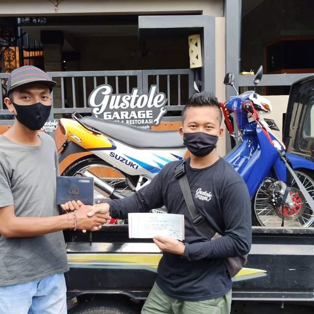 Satria 120R Biru Putih Laku IDR 61 Jt Bali Indonesia