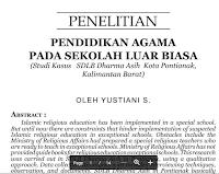 Jurnal Analisa Pendidikan Agama Pada Sekolah Luar Biasa  – Implementation, KTSP, Islamic Religious Education