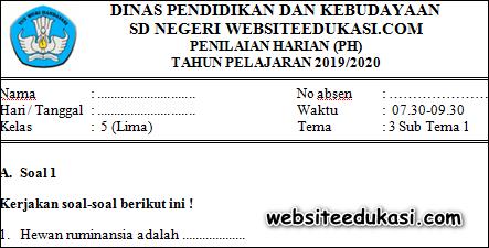 Soal PH / UH Kelas 5 Tema 3 Subtema 1 K13