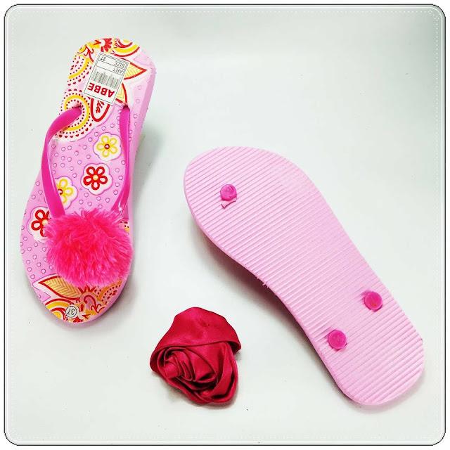 grosirsandalmurah.org - sandal wanita - Sablon Bunga Pompom