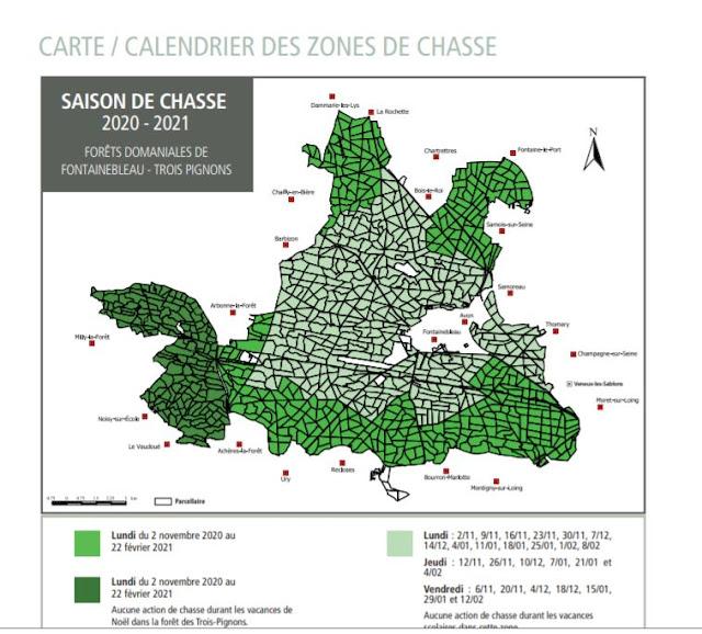 Carte et calendrier des chasses à tir en domaniale de Fontainebleau et des Trois Pignons jusqu'en février 2021