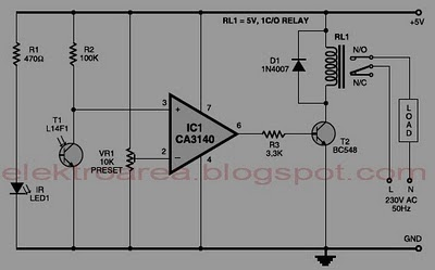 CONTROL RELAY WITH INFRARED CIRCUIT SCHEMATIC DIAGRAM